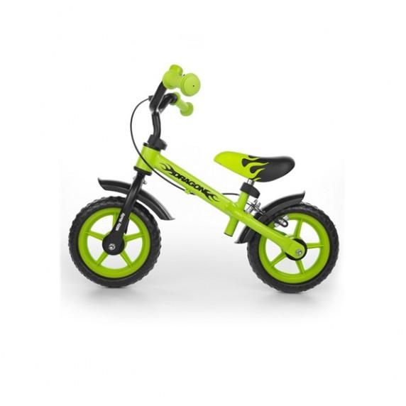 Dětské odrážedlo kolo Milly Mally Dragon s brzdou - zelené