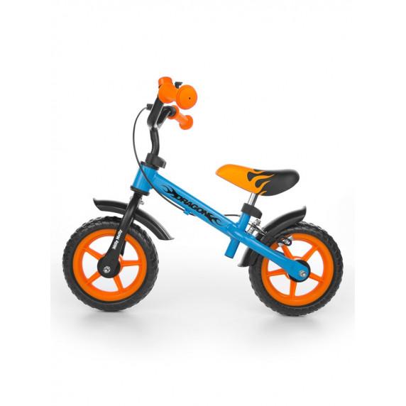 Dětské cykloodrážedlo Milly Mally Dragon s brzdou 10 '- modro-oranžová