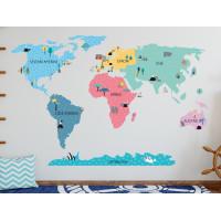 Dekorace na zeď MAPS COLORFUL 195 x 100 cm - L - Mapa světa barevná