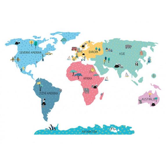 Dekorace na zeď MAPS COLORFUL 100 x 50 cm - S - Mapa světa barevná