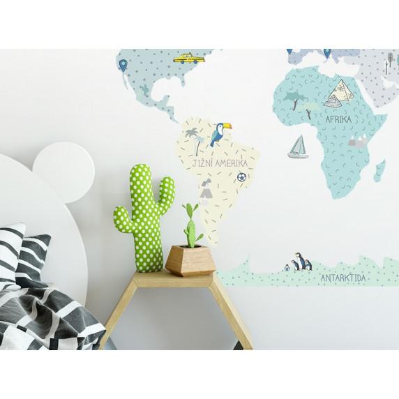 Dekorace na zeď MAPS MINT  195 x 100 cm - L -  Mapa světa mátová