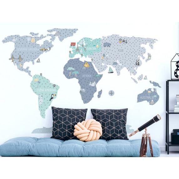 Dekorace na zeď MAPS BLUE 100 x 50 cm - S - Mapa světa modrá