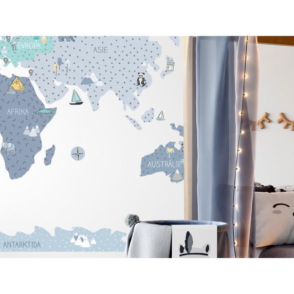 Dekorace na zeď MAPS BLUE 140 x 70 cm - M - Mapa světa modrá