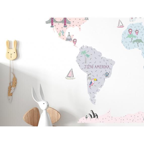Dekorace na zeď MAPS PINK 180 x 120 cm - L - Mapa světa světle růžová