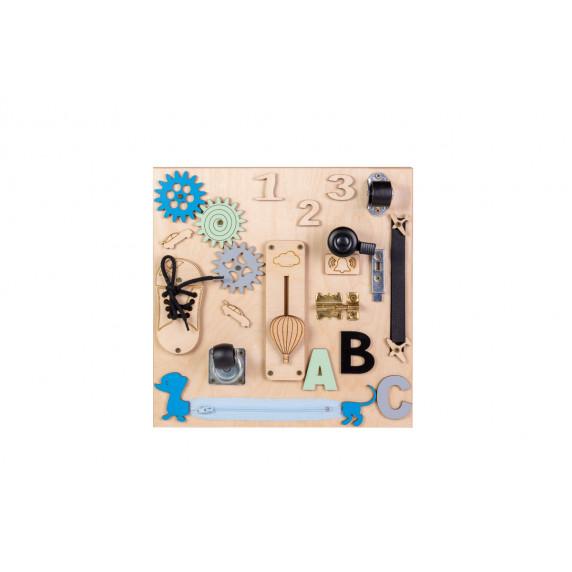 Edukační tabule pro děti 30 x 30 cm MT05 - naturální / modrá