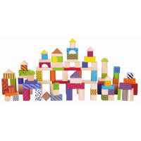 Inlea4Fun dřevěné barevné kostky různých tvarů a vzorů 100 kusů