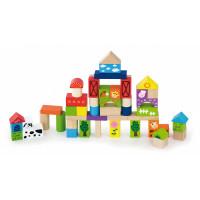 Inlea4Fun dřevěné kostky s různými vzory 50 kusů - Farma