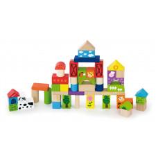 Inlea4Fun dřevěné kostky s různými vzory 50 kusů - Farma Preview