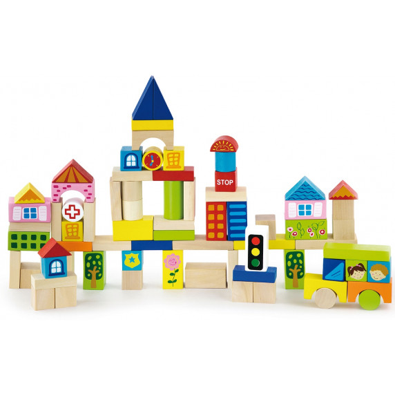 Inlea4Fun dřevěné barevné kostky 75 kusů - City set