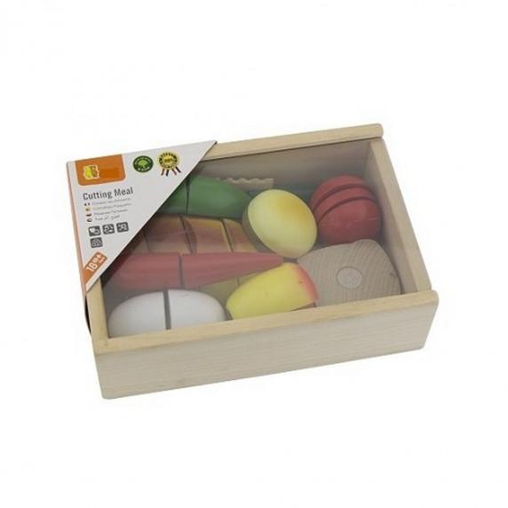 Inlea4Fun 56219 dřevěný snídaňový box s potravinami na krájení