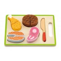 Inlea4Fun dřevěné maso na krájení s příslušenstvím - 50980