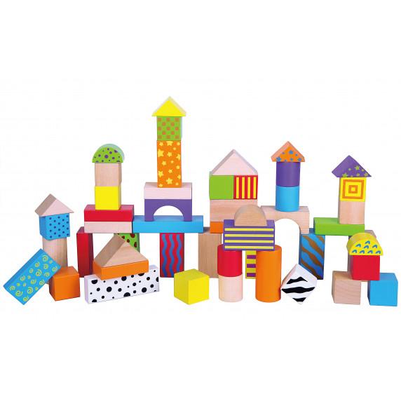 Dřevěné barevné kostičky různých tvarů a vzorů Inlea4Fun 50 kusů