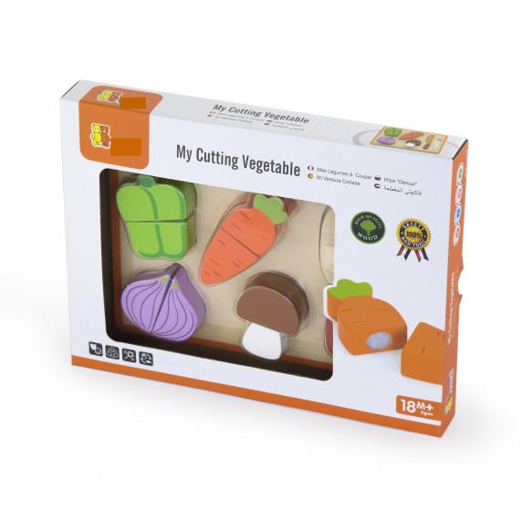 Inlea4Fun dřevěná zelenina na krájení s příslušenstvím - 50979