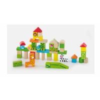Inlea4Fun dřevěné kostky v různých barvách 50 kusů - Zoo set