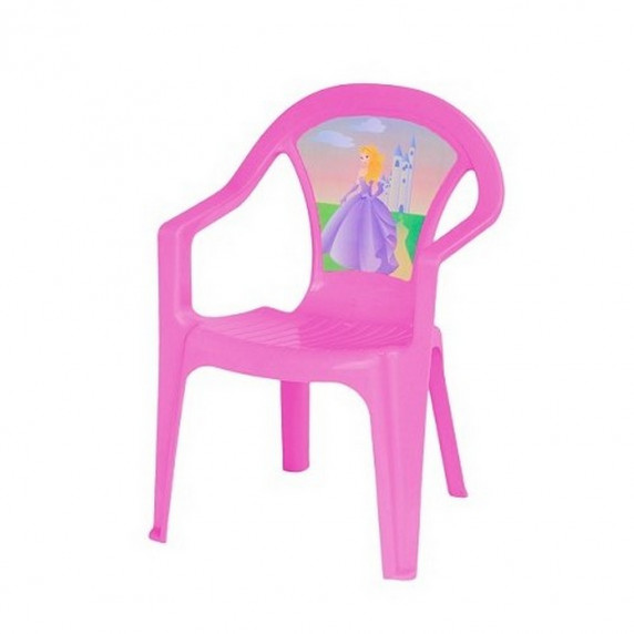 Inlea4Fun umělohmotná židlička pro děti s motivem - Růžová