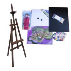 Malířský stojan sada 180 cm Inlea4Fun S180-2 - tmavohnědý Preview