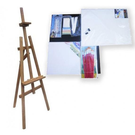 Malířský stojan sada 180 cm Inlea4Fun S180-WYP3 TEAK - hnědý