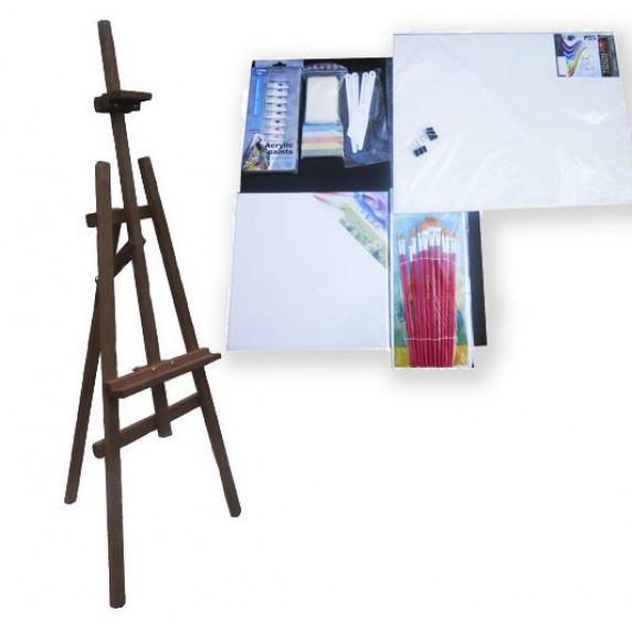 Malířský stojan sada 130 cm Inlea4Fun S130-3 - tmavohnědý