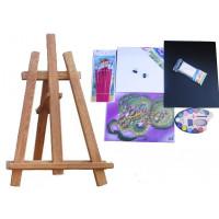 Malířský stojan stolní sada Inlea4Fun S60 WYP2 TEAK - hnědý