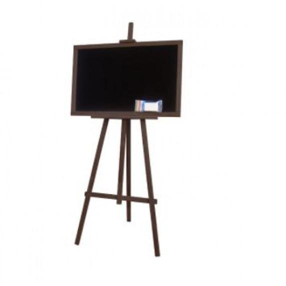 Kreslící tabule se stojanem jednostranná 160 cm Inlea4Fun - tmavohnědá