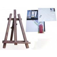 Malířský stojan stolní sada Inlea4Fun S60-3 - tmavohnědý