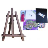 Malířský stojan stolní sada Inlea4Fun S60-2 - tmavohnědý