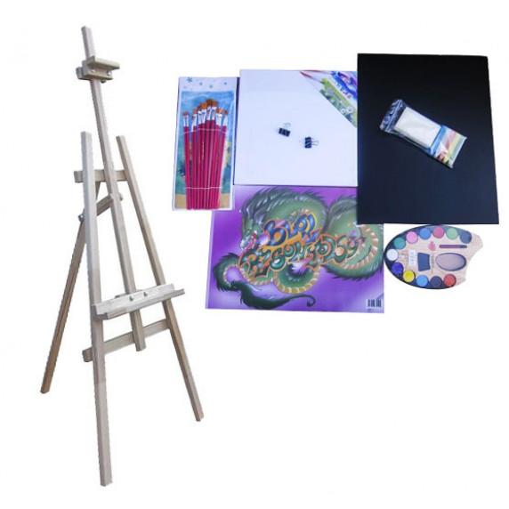 Malířský stojan sada 180 cm Inlea4Fun S180-2 - naturální