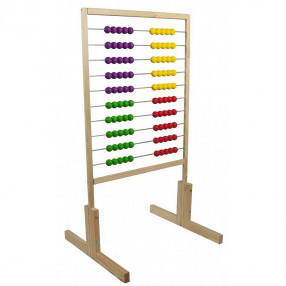 Inlea4Fun dřevěné počítadlo s barevnými kuličkami 120 cm