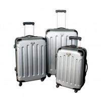 Linder Exclusiv LUXURY MC3001 Cestovní kufry S,M,L - stříbrné