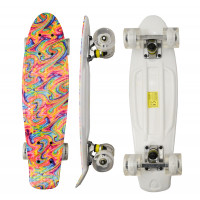 Skateboard se svítícími kolečky Aga4Kids MR6001 - duhový