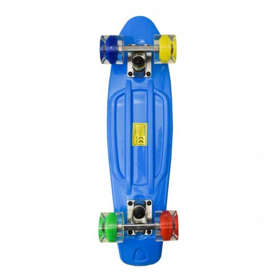Skateboard se svítícími kolečky Aga4Kids MR6019 - tmavě modrý