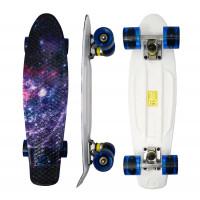 Skateboard se svítícími kolečky Aga4Kids MR6004 - vesmírný