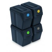 Odpadkové koše SORTIBOX 4x20l Aga - Černé