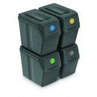 Odpadkové koše SORTIBOX 4x20l Aga - Šedé