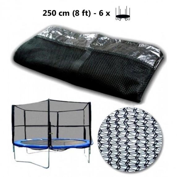 Ochranná síť na trampolínu 250 cm na 6 tyčí - Black