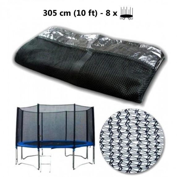 Ochranná síť na trampolínu 305 cm na 8 tyčí - Black
