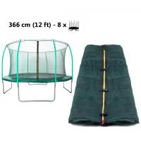 AGA vnitřní ochranná síť na trampolínu s celkovým průměrem 366 cm na 8 tyčí (kruh) - tmavozelená