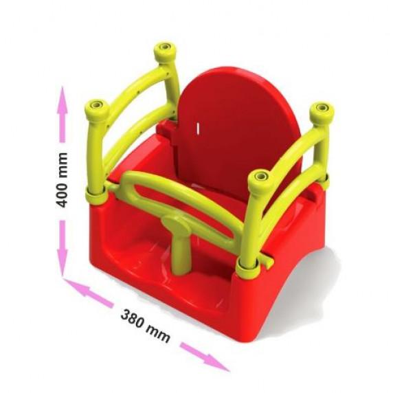 Dětská houpačka s ohrádkou 3 v 1 Inlea4Fun  - červená