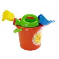Souprava do pískoviště s kbelíkem a doplňky Inlea4Fun - červená