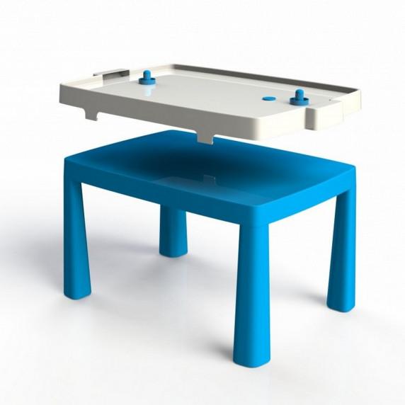 Umělohmotný dětský stolík se vzdušným hokejem Inlea4Fun EMMA - modrý
