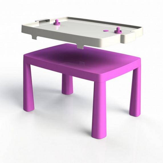 Umělohmotný dětský stolík se vzdušným hokejem Inlea4Fun EMMA - růžový