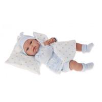 Realistická dětská panenka-miminko 34 cm Antonio Juan 7043 - Tonet Azul