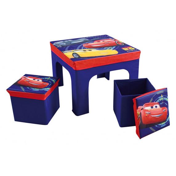 FUN HOUSE Dětský stolek s dvěma taburetkami a úložným prostorem Cars 712641