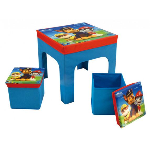 FUN HOUSE Dětský stolek s dvěma taburetkami a úložným prostorem Tlapková Patrola 712649
