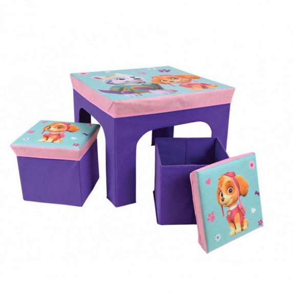 FUN HOUSE Dětský stolek s dvěma taburetkami a úložným prostorem Tlapková Patrola 712745