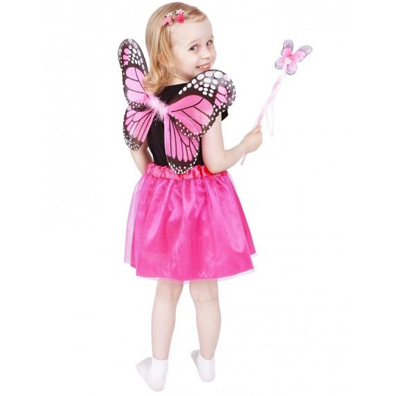 Godan Dětský kostým Motýlí víla s křídly - růžový