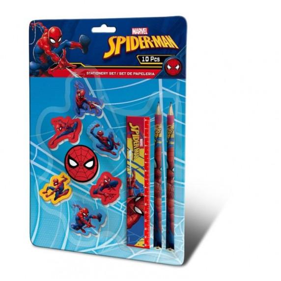 Kids Licensing Sada psacích potřeb s gumami SPIDERMAN 10 ks