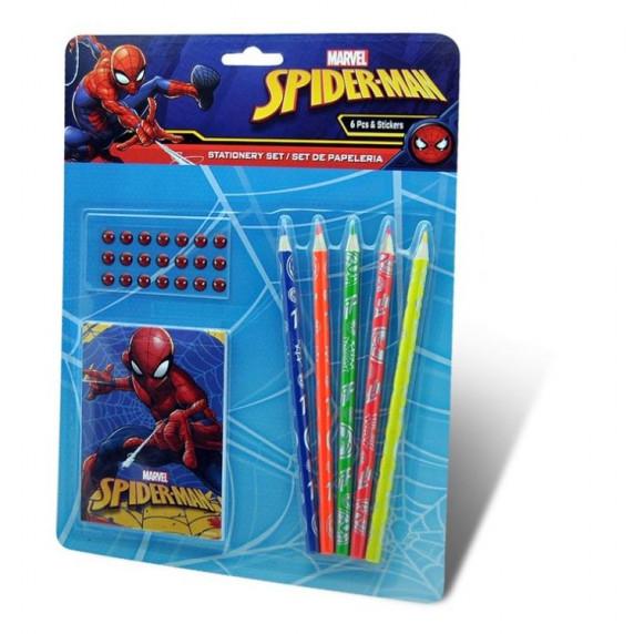 Kids Licensing Sada psacích potřeb s nálepkami SPIDERMAN 6 ks