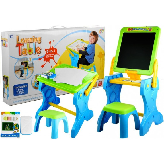Inlea4Fun LEARNING TABLE Multifunkční skládací stůl 2v1 s židličkou
