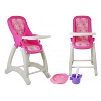 Jídelní židle pro panenky POLESIE - růžová květinkovaná